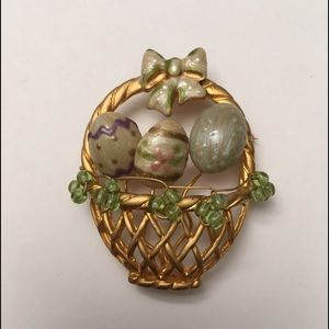 Gold Tone Easter Basket Pin Brooch, Enameled Eggs